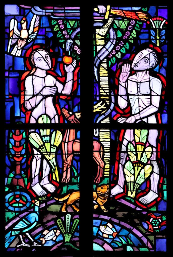 Der Sündenfall (1. Mose 3) (linkes Chorfenster oben)
