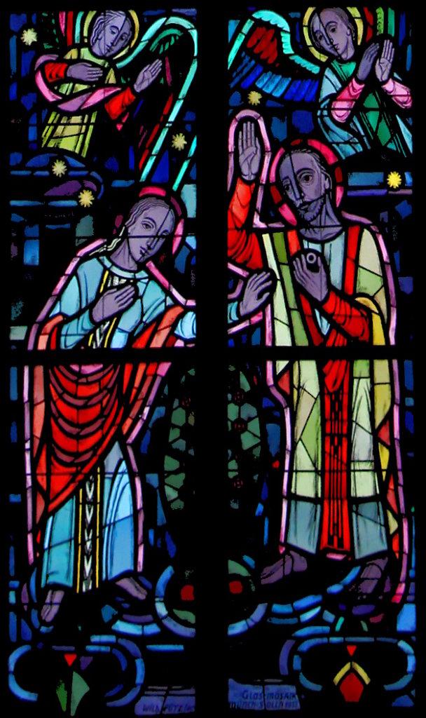 Jesus reicht Maria einen Brautring (rechtes Chorfenster unten)